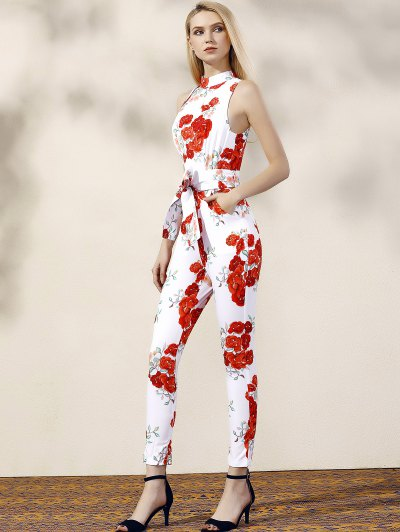 Floral Turtle Neck Sleeveless Jumpsuit - RED WITH WHITE L Mobile