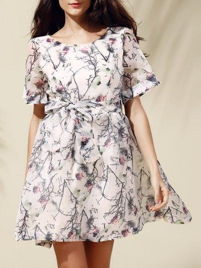 Sweet Short Sleeve Scoop Neck Floral Print Self-Tie Women's Dress - Off-white