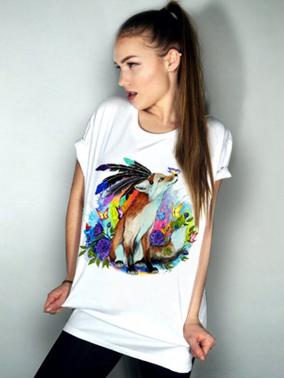 Casual Short Sleeve Round Neck Animal Pattern Women's T-Shirt от Zaful.com INT