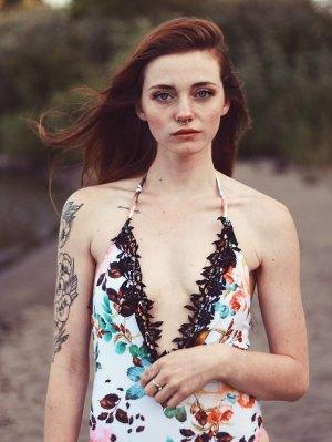Lace Spliced Halter Floral One-Piece Swimwear - White
