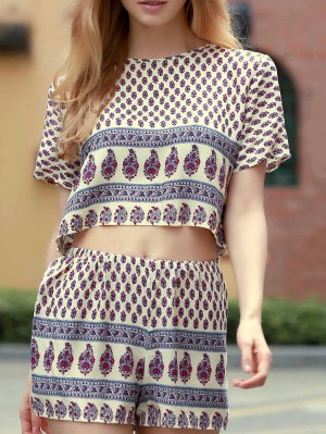 Cropped Printed T-Shirt And Shorts Twinset - White