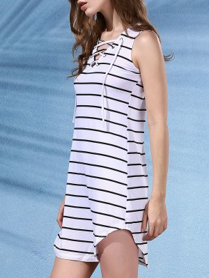V-Neck Sleeveless Striped Dress - White