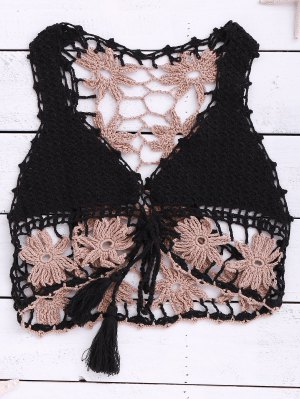 Crocheted Lace Up Sleeveless Crop Top - Black