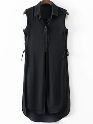 High Slit Turn Down Collar Sleeveless Shirt - Black