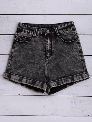 Snow Wash Denim Shorts