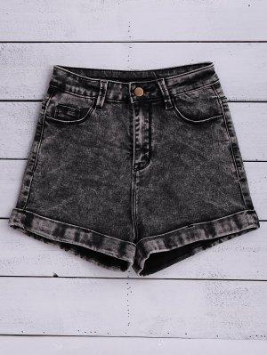 Snow Wash Denim Shorts - Black
