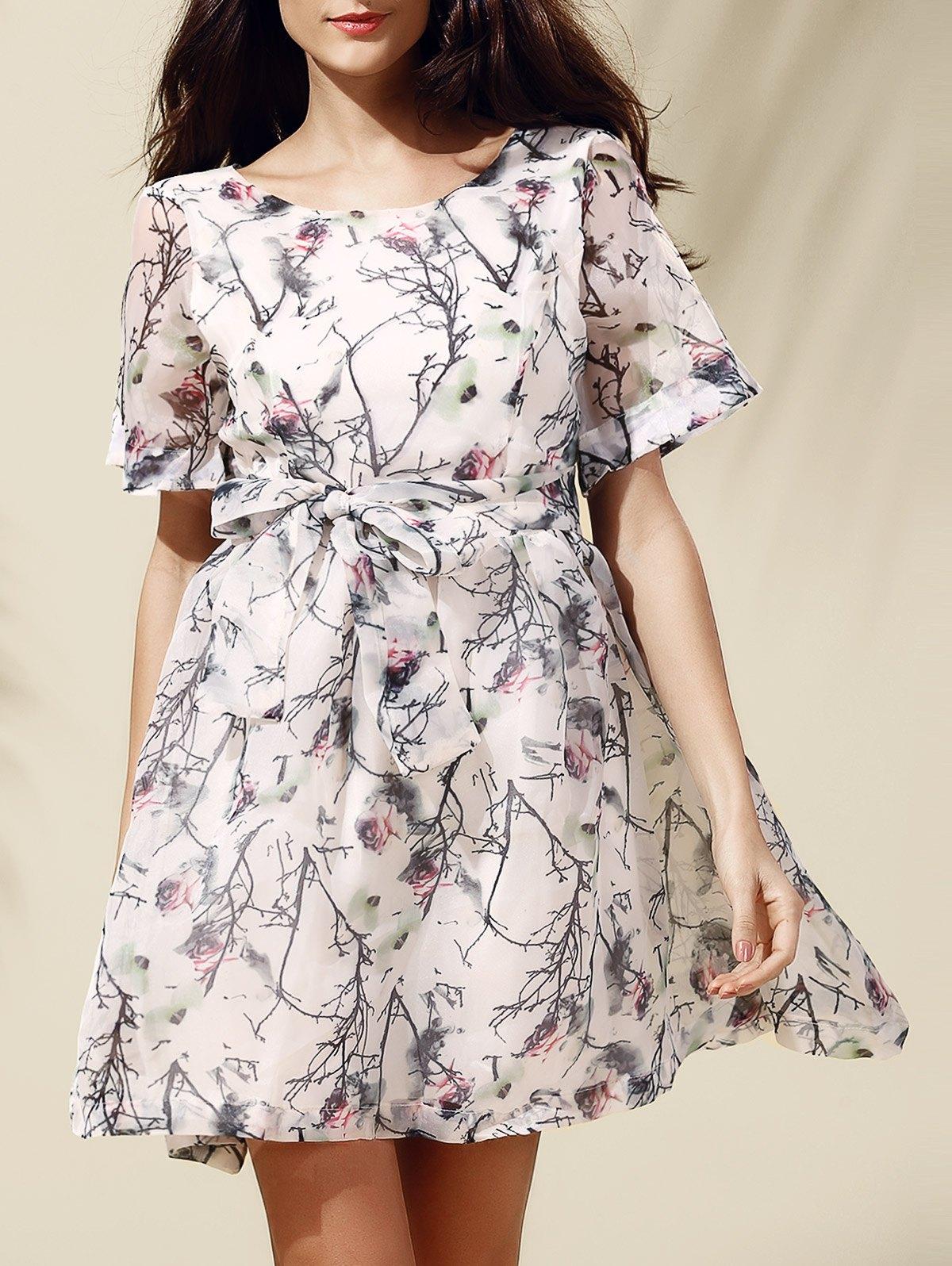 Rochie scurtă, elegantă, cu imprimeu floral, din polyester
