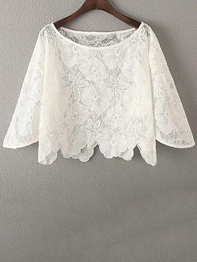 White Lace Hook Round Neck Half Sleeve Blouse