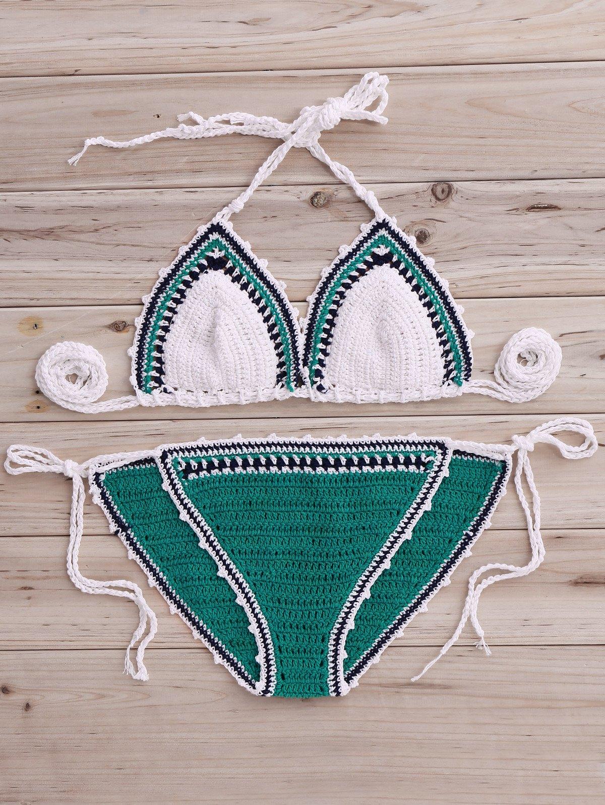 Crochet Color Block Bikini Set