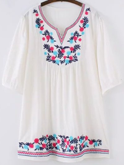 Ethnic Embroidered Sweetheart Neck 3/4 Sleeve Blouse