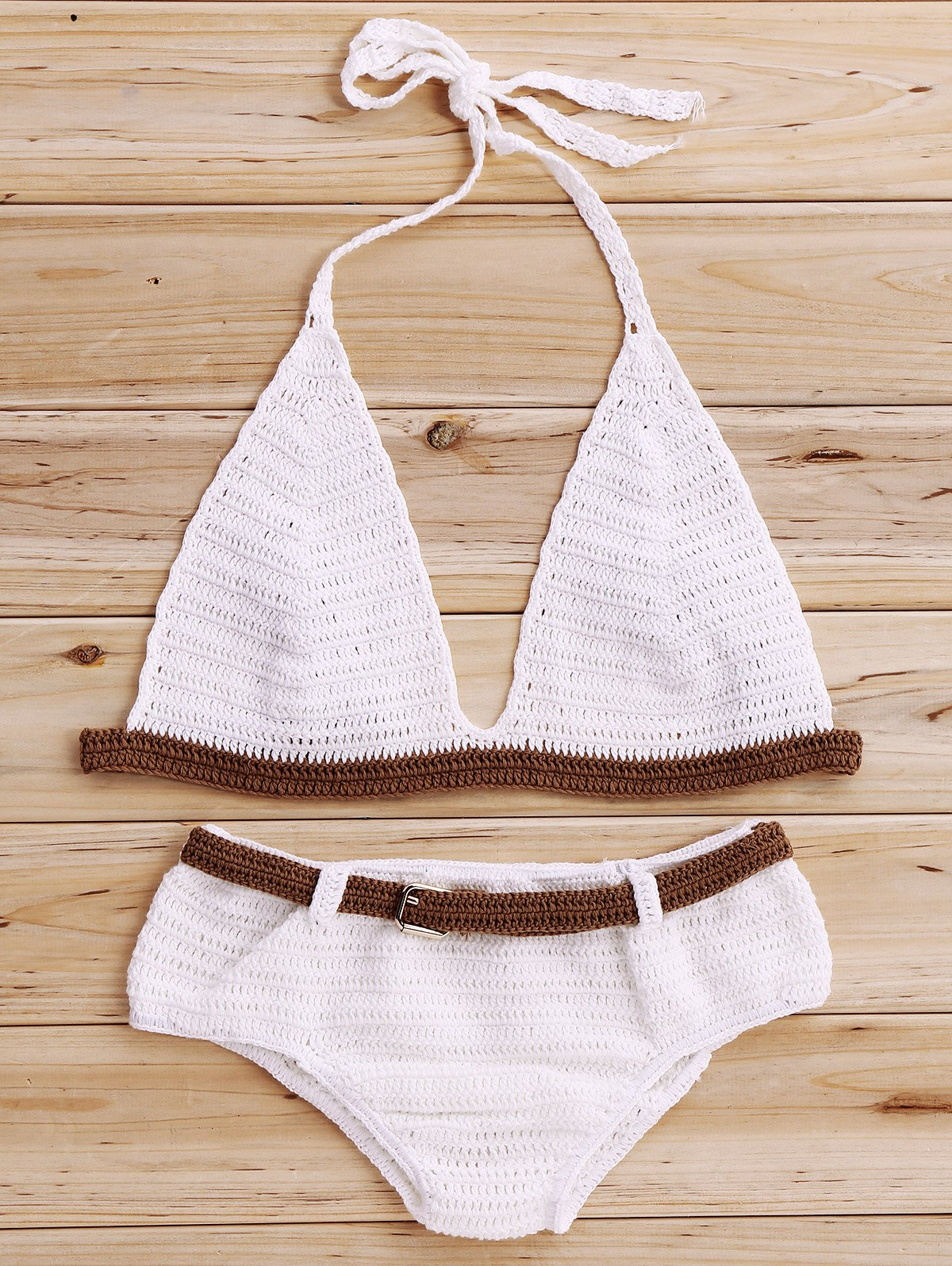 Halter Color Block Crochet Bikini Set