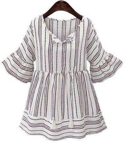 Stripe Round Neck Half Sleeve Blouse