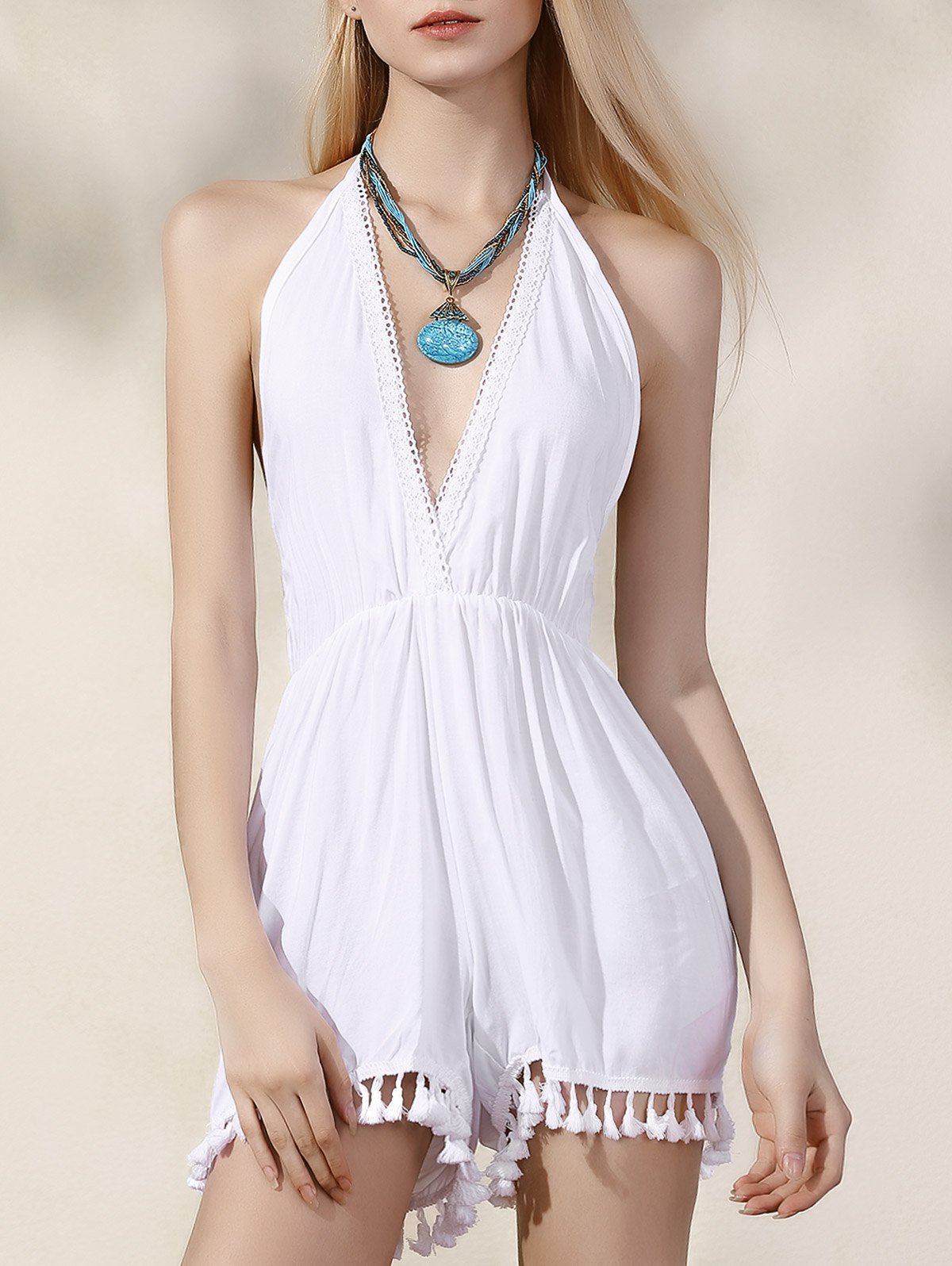 Plunging Neck Backless White Romper