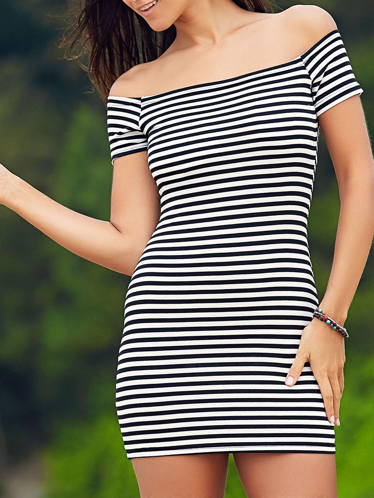 Cold Shoulder Striped Ribbed Dress 178538203