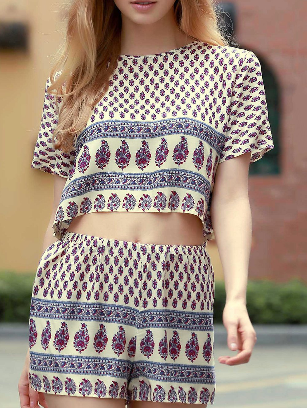 Short Sleeve Printed Cropped T-Shirt and Shorts Twinset