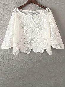 White Lace Hook Round Neck Half Sleeve Blouse
