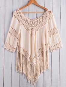 Fringed Crochet V-Shaped Blouse
