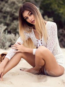 See-Through Lace Long Sleeve One-Piece Swimwear - White