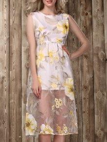Midi Floral Print Dress - Golden M