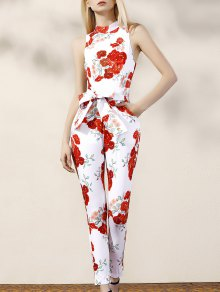Floral Turtle Neck Sleeveless Jumpsuit - Red With White