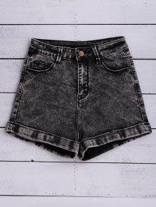 Snow Wash Denim Shorts - Black 29