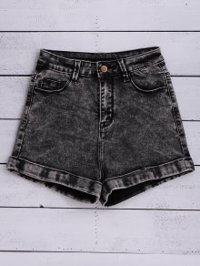 Snow Wash Denim Shorts - Black