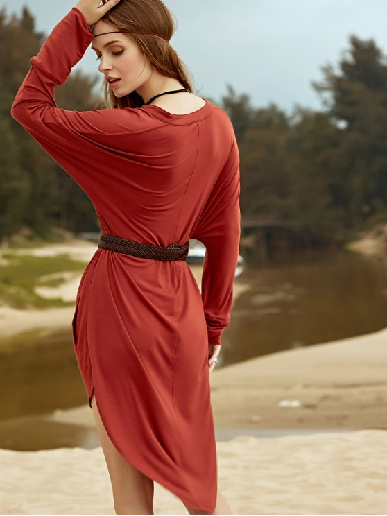Low Cut Long Sleeve Plunge Dress - BROWN L Mobile
