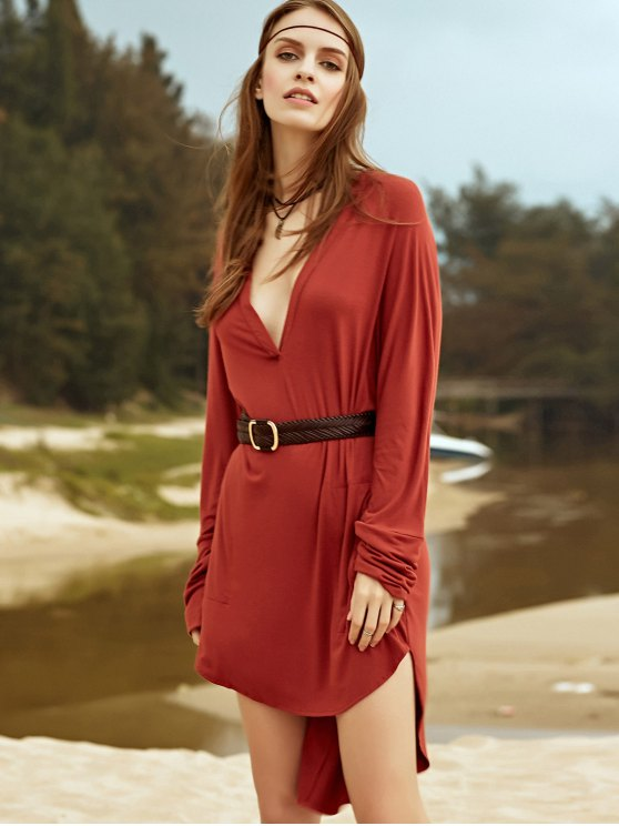 Low Cut Long Sleeve Plunge Dress - BROWN S Mobile