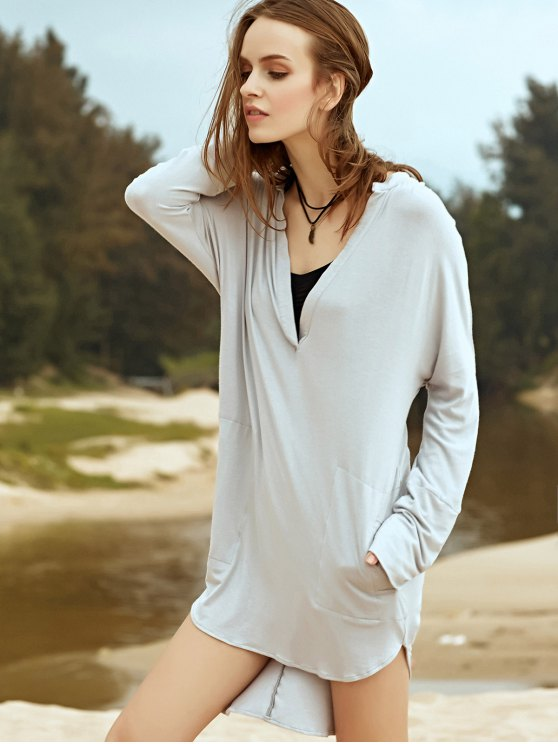 Low Cut Long Sleeve Plunge Dress - LIGHT GRAY L Mobile