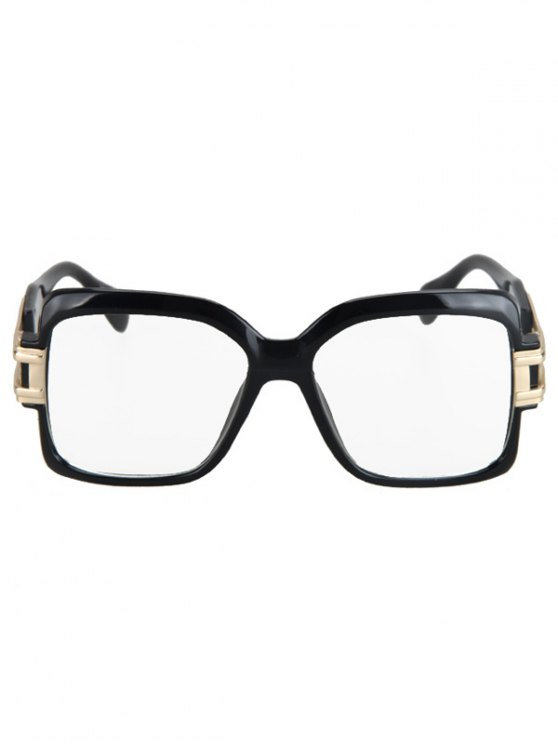 Hollow Alloy Quadrate Frame Sunglasses - BLACK  Mobile