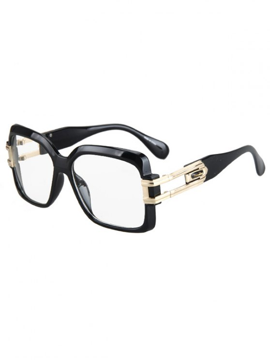 lady Hollow Alloy Quadrate Frame Sunglasses - BLACK