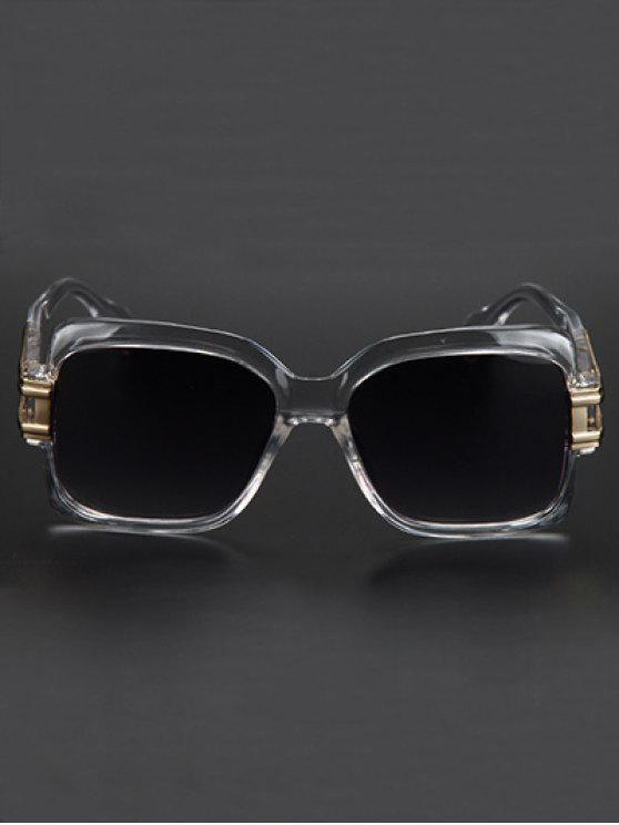 Hollow Alloy Modern Quadrate Sunglasses - TRANSPARENT  Mobile