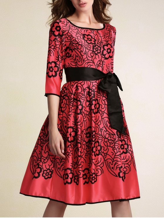 Belted Printed Round Neck 3/4 Sleeve Dress - RED M Mobile