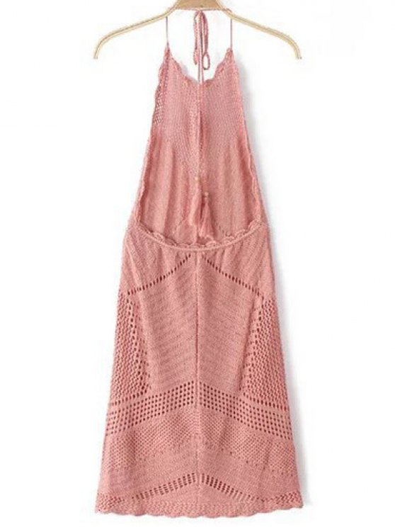 Backless Halter Solid Color Crocheted Dress - PINK S Mobile
