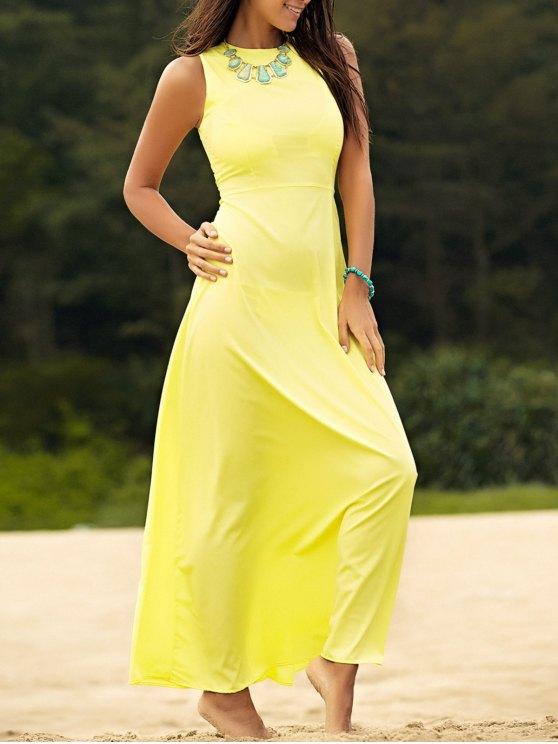 Sin mangas vestido amarillo de la gasa maxi - Amarillo XL