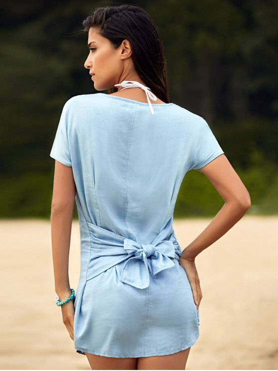 Solid Color Tied Round Neck Bat-Wing Sleeve Denim Dress - LIGHT BLUE XL Mobile
