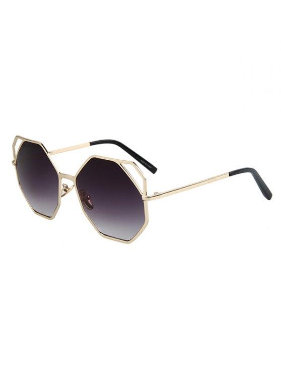 womens Hollow Out Polygonal Frame Golden Sunglasses - DEEP PURPLE