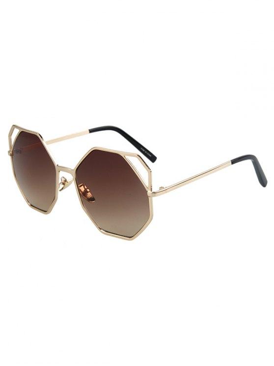 women Hollow Out Polygonal Frame Golden Sunglasses - TEA-COLORED