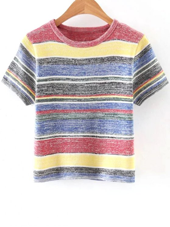 womens Ribbed Knit T-Shirt - COLORMIX ONE SIZE(FIT SIZE XS TO M)