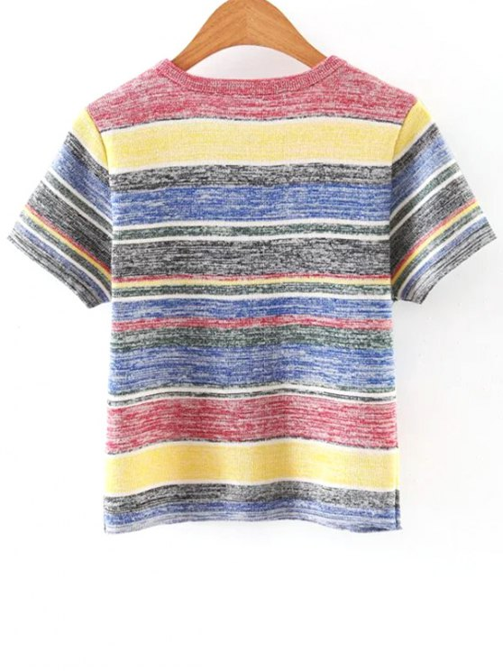 Ribbed Knit T-Shirt - COLORMIX ONE SIZE(FIT SIZE XS TO M) Mobile