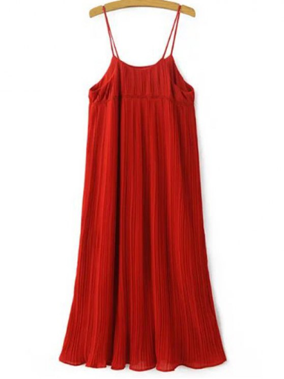 best Pleated Empire Waist Strap Dress - RED ONE SIZE(FIT SIZE XS TO M)