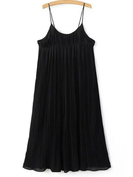 online Pleated Empire Waist Strap Dress - BLACK ONE SIZE(FIT SIZE XS TO M)