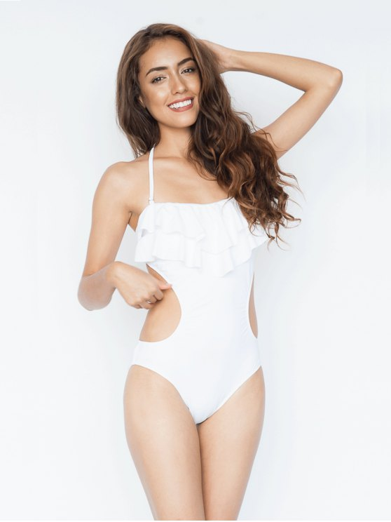 new Tie Back Halter Ruffle Backless Swimsuit - WHITE L