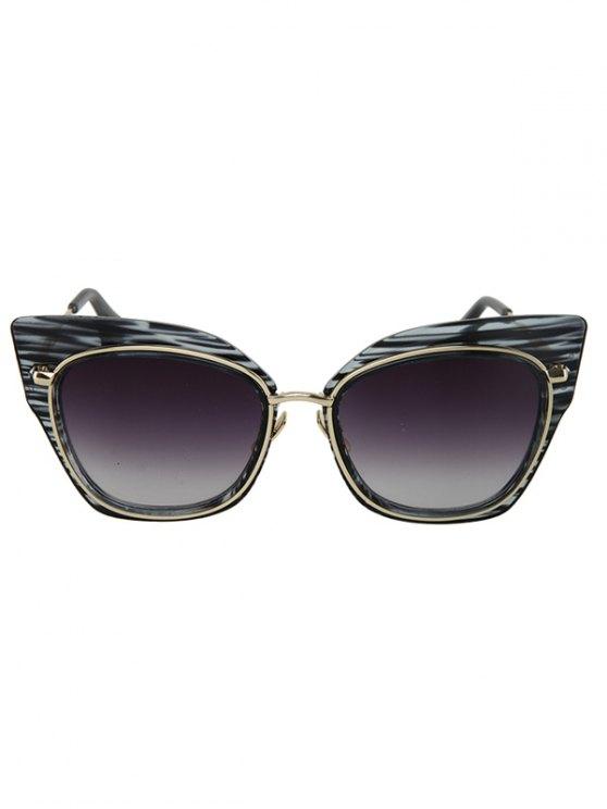 Striped Cat Eye Frame Sunglasses - BLACK  Mobile