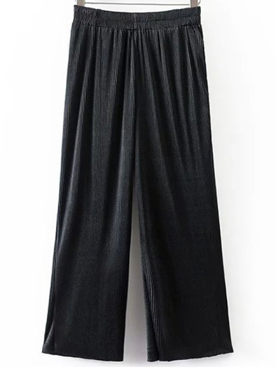 Pleated Elastic Waist Wide Leg Pants - BLACK M Mobile