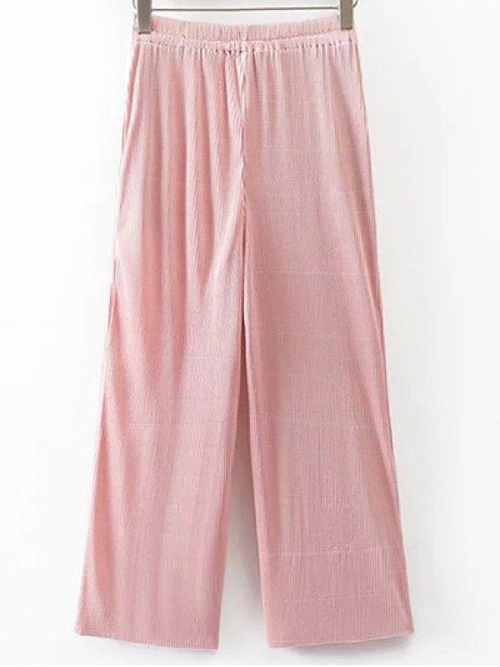 Pleated Elastic Waist Wide Leg Pants - PINK L Mobile