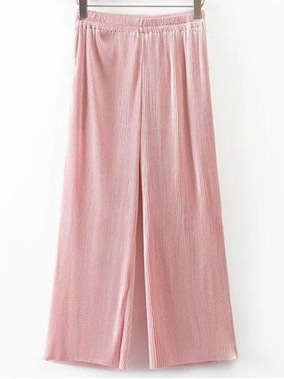 Plissé taille élastique Pantalon large - ROSE PÂLE L