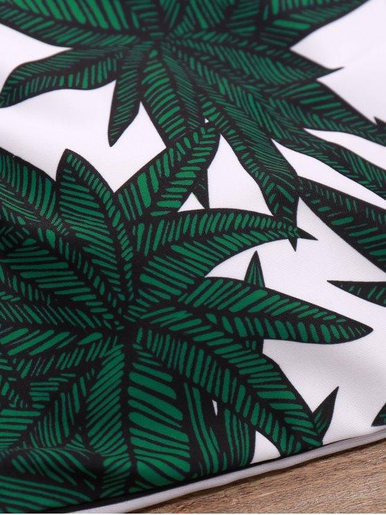Leaf Print High-Neck Bikini Set - WHITE AND GREEN M Mobile