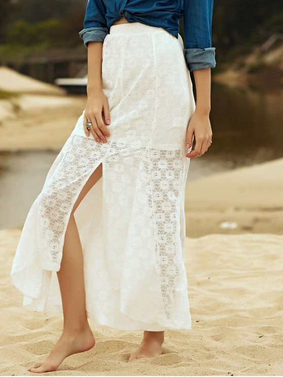 High-Low Hem Solid Color Lace Spliced Skirt - WHITE M Mobile