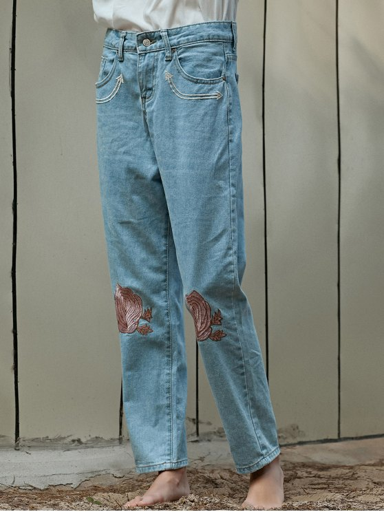 Floral Embroidery Relaxed Fit Jeans - LIGHT BLUE XL Mobile